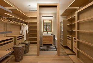 Contemporary Closet with Hardwood floors, Built-in bookshelf