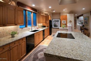 Eclectic Kitchen with Standard height, single dishwasher, One-wall, full backsplash, electric range, Large Ceramic Tile