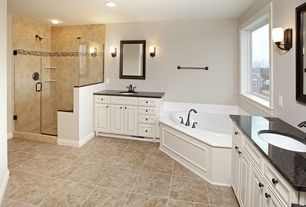 Traditional Master Bathroom with Daltile catalina canyon noce 12 in. x 12 in. porcelain floor and wall tile, Master bathroom