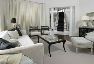 Modern Living Room with Columns, High ceiling, Hardwood floors