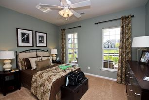 Traditional Master Bedroom with Ceiling fan, flush light, Wesley Allen Coventry Iron Headboard, High ceiling, Carpet