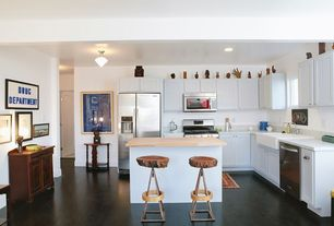Eclectic Kitchen with Standard height, Flat panel cabinets, L-shaped, single dishwasher, can lights, Simple marble counters