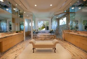 Modern Master Bathroom with European Cabinets, Pedra Marble Tile - Polished Rosa Aurora, Complex Granite, Master bathroom