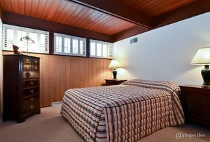 Craftsman Guest Bedroom with specialty window, Exposed beam, Standard height, Carpet