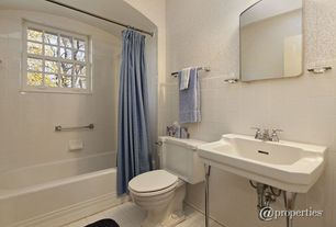 "Traditional Full Bathroom with Cheviot Essex Console Bathroom Sink, Pedestal sink, Powder room, 4"" x 4"" glossy white tile"