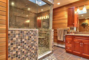 "Craftsman Master Bathroom with Emser Tile Natural Stone 2"" x 2"" Honed Slate Mosaic in Copper, Master bathroom, Sandstone"