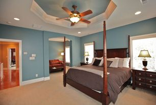 Traditional Guest Bedroom with High ceiling, Carpet, Ceiling fan, flush light