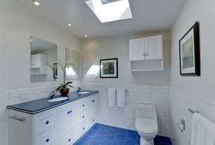 Modern Powder Room with Skylight, Flat panel cabinets, Simple granite counters, Double sink, Undermount sink