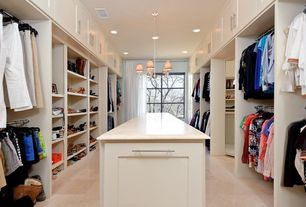 Contemporary Closet with sandstone tile floors, Built-in bookshelf, Chandelier
