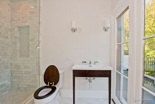 Contemporary 3/4 Bathroom with Undermount sink, Wall sconce, frameless showerdoor