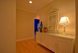 Contemporary Hallway with Crown molding, Standard height, Bamboo floors, can lights