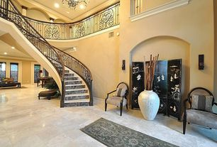 Eclectic Staircase with Chandelier, Crown molding, Loft, High ceiling