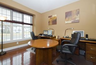 Modern Home Office with Casement, Standard height, Laminate floors