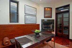 Modern Dining Room with French doors, flush light, Hardwood floors