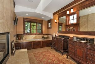 Traditional Master Bathroom with specialty window, Undermount sink, Pottery Barn - Caleb Persian Style Rug, Paint 1, Bathtub
