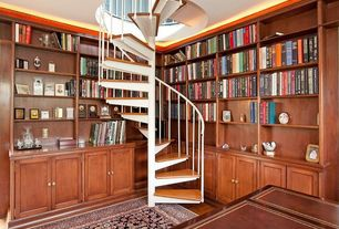 Traditional Staircase with Spiral staircase, Hardwood floors, Crown molding, Sapphire collection oriental rug