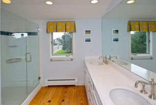 Eclectic 3/4 Bathroom with Double sink, Undermount sink, Simple Marble, frameless showerdoor, Hardwood floors, Raised panel