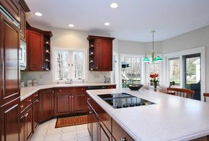 Traditional Kitchen with Breakfast nook, Raised panel, Simple marble counters, Large Ceramic Tile, L-shaped, Kitchen island