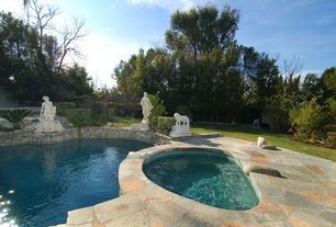 Traditional Swimming Pool with exterior stone floors, Pool with hot tub