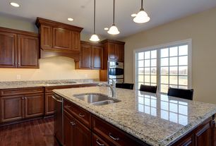 Traditional Kitchen with L-shaped, Simple Granite, Breakfast bar, Pendant light, Oak - Cherry 2 1/4 in. Solid Hardwood Strip