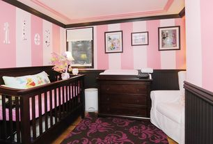 Traditional Kids Bedroom with Pottery Barn Kids Larkin Fixed Gate 4-In-1 Crib, Laminate floors, PB Kids Comfort Swivel Rocker