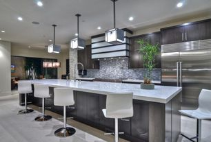 Contemporary Kitchen with Undermount sink, H2 adjustable height bar stool, Concrete floors, European Cabinets, One-wall, Onyx