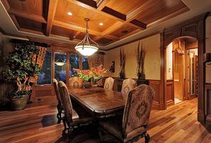 Traditional Dining Room with Hardwood floors, Wainscotting, Box ceiling, flush light, Crown molding