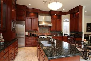 Traditional Kitchen with Stone Tile, Kitchen island, Raised panel, Msi gauged slate tile in multi classic, L-shaped