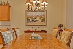 Traditional Dining Room with Standard height, Hardwood floors, Chandelier