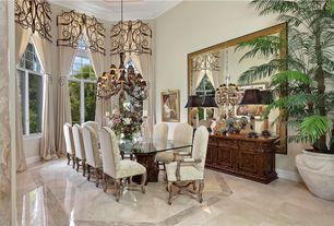 Traditional Dining Room with Box ceiling, Concrete floors, Crown molding, Chandelier, Kalco ibiza 16 light chandelier