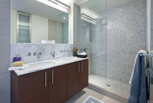 """Contemporary Master Bathroom with Carrara (carrera) bianco square 1x1"""" polished marble mosaic tile, frameless showerdoor"""