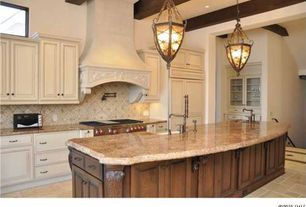 Traditional Kitchen with Farmhouse sink, Glass panel, Raised panel, Flush, limestone tile floors, Exposed beam, Galley