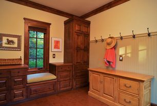 Craftsman Mud Room with Casement, Window seat, Standard height, Laminate floors, Crown molding