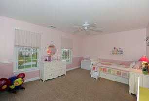 Country Kids Bedroom with Carpet, Ceiling fan, Wainscotting