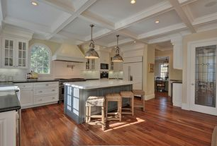 Traditional Kitchen with French doors, Hardwood floors, Large Ceramic Tile, Simple marble counters, Box ceiling, Glass panel