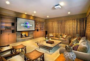 Eclectic Home Theater with Built-in bookshelf, can lights, Standard height, Fireplace, interior wallpaper, Carpet