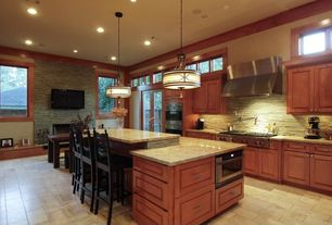 Craftsman Kitchen with Breakfast bar, Kitchen island, kitchen faucet pull-out style, full backsplash, High ceiling, Wall Hood
