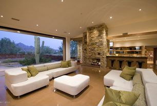 Contemporary Living Room with insert fireplace, specialty window, picture window, Fireplace, can lights, High ceiling