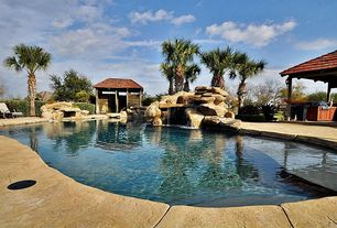 Rustic Swimming Pool with Fence, Fountain, Outdoor kitchen, exterior stone floors