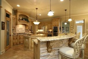 Eclectic Kitchen with Osborne wood corbels, Stone Tile, Custom hood, Ludlow Bar Height Bar Stool, Breakfast bar, U-shaped
