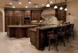 Traditional Kitchen with Ms international mediterranean taupe limestone, Built In Panel Ready Refrigerator, Undermount sink