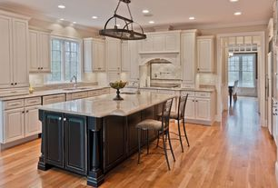 Traditional Kitchen with Hardwood floors, Custom hood, Ms international calacatta carrara marble, L-shaped, Simple Granite