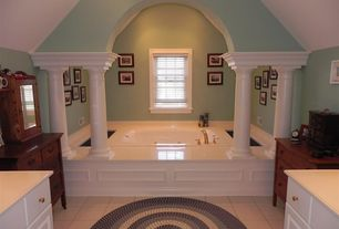 Eclectic Master Bathroom with Casement, High ceiling, Jetted, Raised panel, Frameless, stone tile floors, Bathtub, Columns