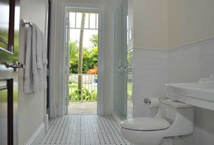 Traditional 3/4 Bathroom with Powder room, Transom window, Chair rail, Wall mounted sink