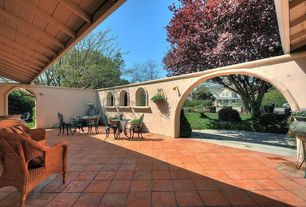 Mediterranean Patio with exterior terracotta tile floors, exterior tile floors