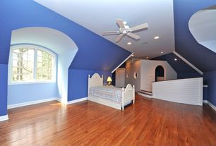 Cottage Kids Bedroom with Ceiling fan, Standard height, Casement, Paint 1, Hardwood floors, Twin Panel Bed, Paint 3, Paint 2