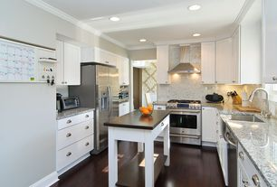 Contemporary Kitchen with L-shaped, Flat panel cabinets, Hardwood floors, Specialty Tile, Crown molding, Flush