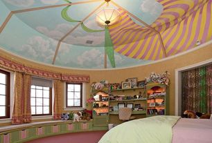 Eclectic Kids Bedroom with flush light, Crown molding, Carpet, Casement, High ceiling, Window seat, Built-in bookshelf