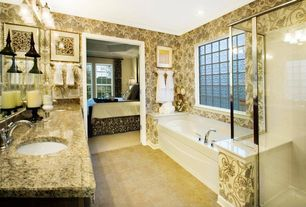 Traditional Master Bathroom with Simple granite counters, Kohler - devonshire centerset bathroom sink faucet, Jetted
