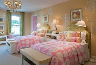 Contemporary Kids Bedroom with no bedroom feature, double-hung window, Chandelier, can lights, Carpet, Standard height